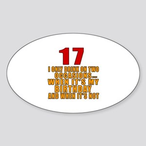 17 birthday Designs Sticker (Oval)
