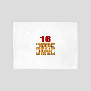 16 birthday Designs 5'x7'Area Rug