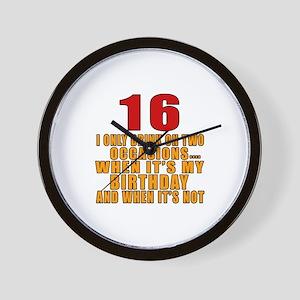 16 birthday Designs Wall Clock