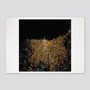Chicago at Night from Space 5'x7'Area Rug