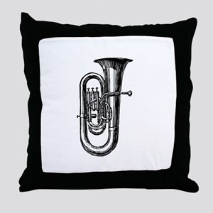 Woodcut Tuba Throw Pillow