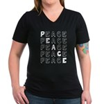Pro-Peace Women's V-Neck Dark T-Shirt