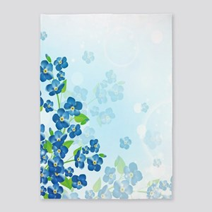 Forget Me Not Flowers 5'x7'Area Rug