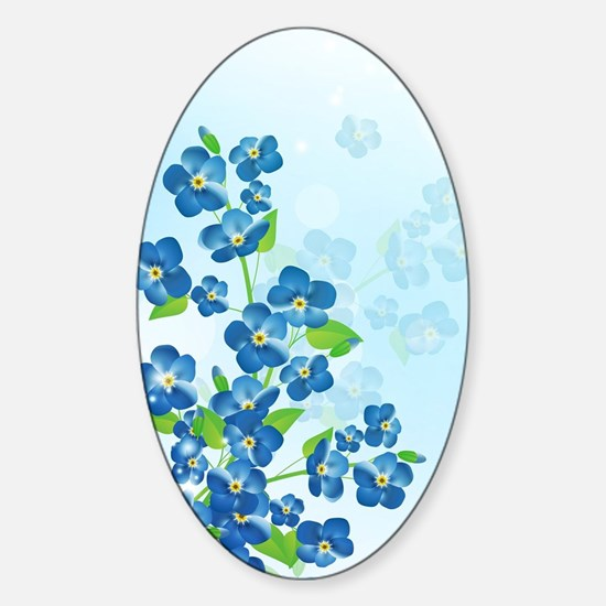 Forget Me Not Flowers Sticker (Oval)