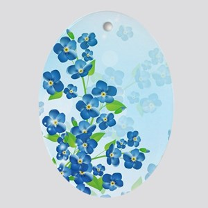 Forget Me Not Flowers Oval Ornament