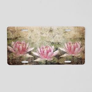 Pink Lotus Grunge Aluminum License Plate