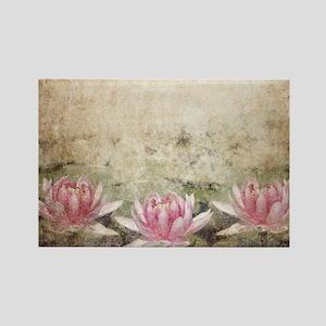 Pink Lotus Grunge Rectangle Magnet