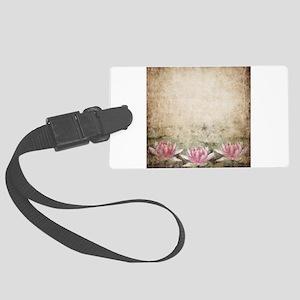 Pink Lotus Grunge Large Luggage Tag