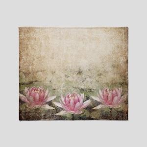 Pink Lotus Grunge Throw Blanket
