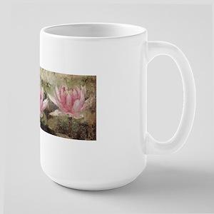 Pink Lotus Grunge Large Mug