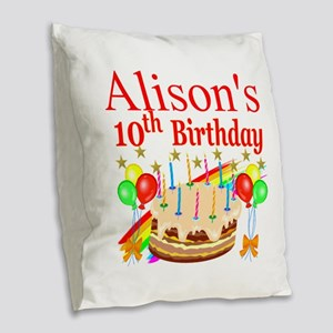 PERSONALIZED 10TH Burlap Throw Pillow