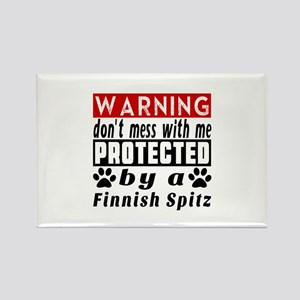 Protected By Finnish Spitz Dog Rectangle Magnet