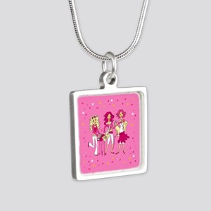 Teen Girl Band on Silver Square Necklace