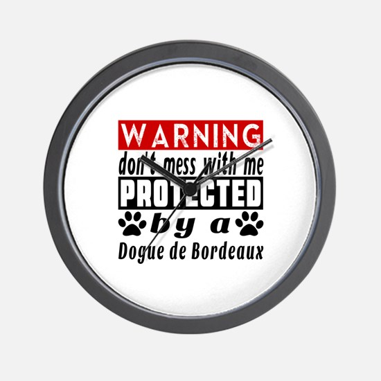 Protected By Dogue De Bordeaux Dog Wall Clock