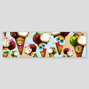 Ice Cream Cones Cartoon Pattern Bumper Sticker