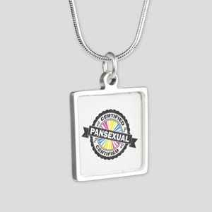 Certified Pansexual Stamp Silver Square Necklace