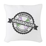 Certified Genderqueer Stamp Woven Throw Pillow