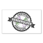 Certified Genderqueer Stamp Sticker (Rectangle)