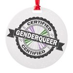Certified Genderqueer Stamp Round Ornament