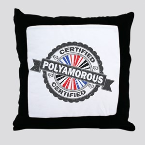 Certified Polyamory Stamp Throw Pillow