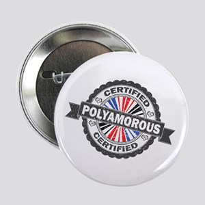 """Certified Polyamory Stamp 2.25"""" Button (10 pack)"""