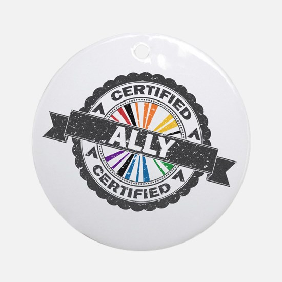 Certified LGBT Ally Stamp Round Ornament