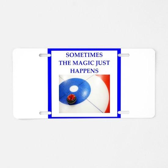 Funny Curling club Aluminum License Plate