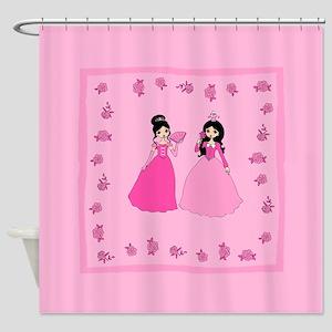 Dark Haired Princess On Shower Curtain