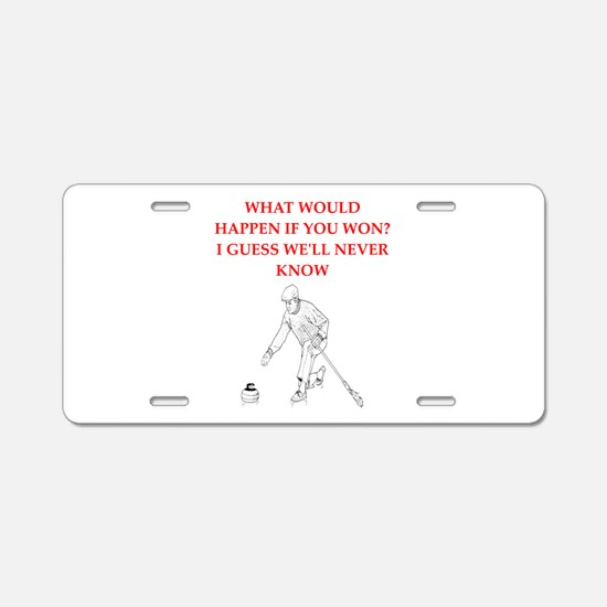 Cute Curling club Aluminum License Plate