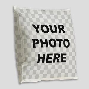 Your Photo Here Burlap Throw Pillow