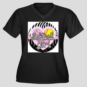 Softball Gir Women's Plus Size V-Neck Dark T-Shirt