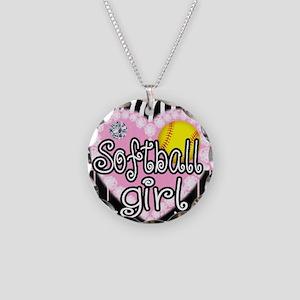 Softball Girl Necklace Circle Charm