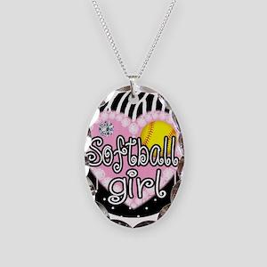 Softball Girl Necklace Oval Charm