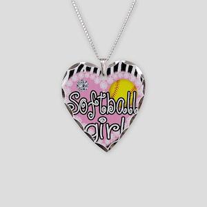 Softball Girl Necklace Heart Charm