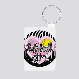 Softball Girl Aluminum Photo Keychain