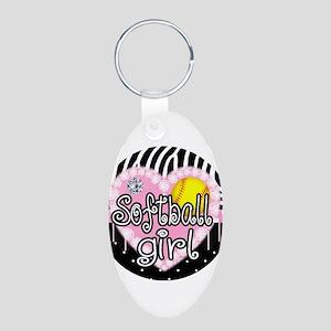 Softball Girl Aluminum Oval Keychain