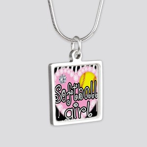 Softball Girl Silver Square Necklace