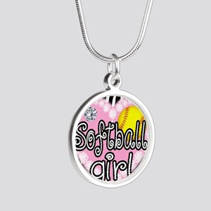 Softball Girl Silver Round Necklace
