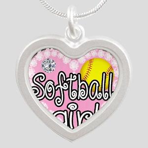 Softball Girl Silver Heart Necklace