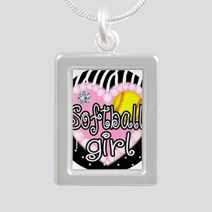 Softball Girl Silver Portrait Necklace