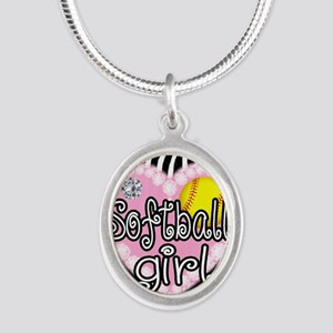Softball Girl Silver Oval Necklace
