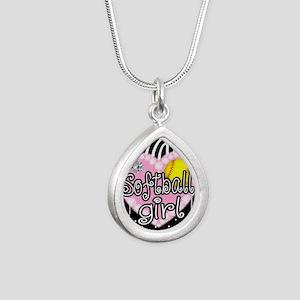 Softball Girl Silver Teardrop Necklace