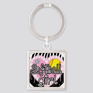 Softball Girl Square Keychain
