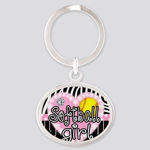 Softball Girl Oval Keychain
