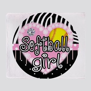 Softball Girl Throw Blanket