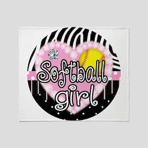 Softball Girl Throw Blanket