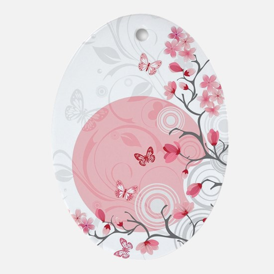 Bright Cherry Flowers Oval Ornament