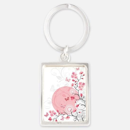 Bright Cherry Flowers Portrait Keychain