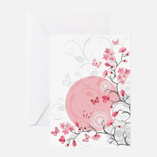 Bright Cherry Flowers Greeting Card