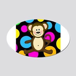 Happy Monkey on Multicolor Wall Decal